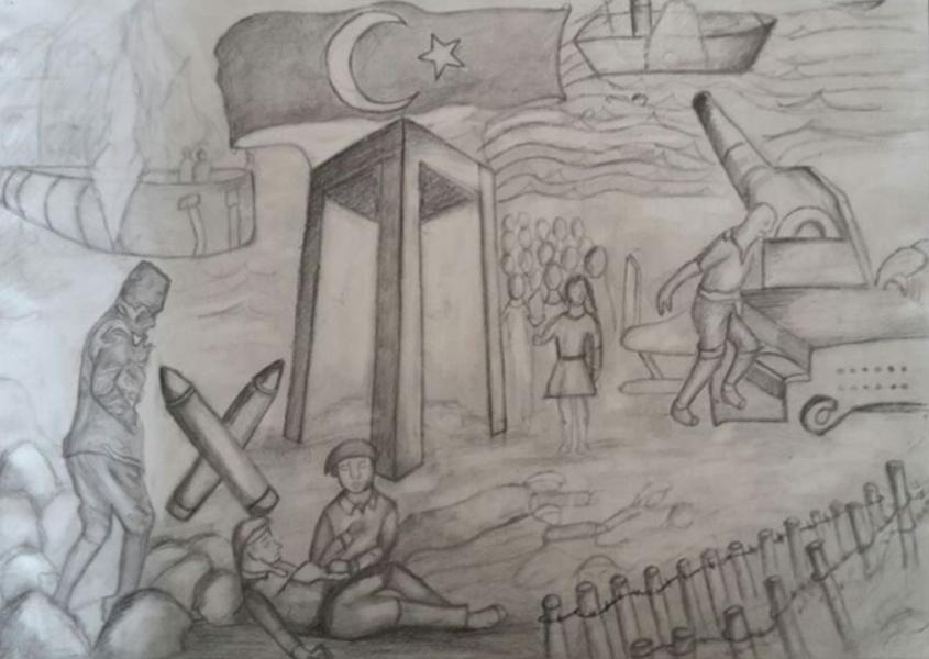 Canakkale Savasi Pastel Boyama Resimi Secdem