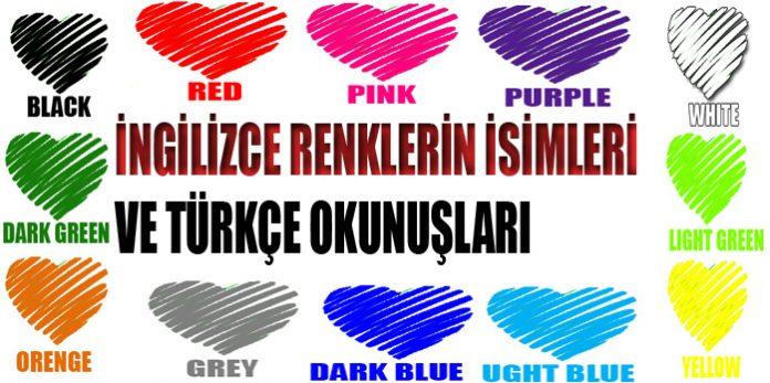 Ingilizce Tüm Renklerin Türkçe Okunuşlari Secdem